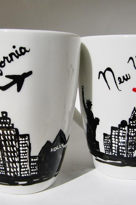 California and New York Skyline Ceramic Coffee Mugs Set of 2 - Mothers Day Gift